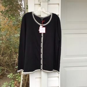 NWT Talbots Classic Black With Gray Cream Trim